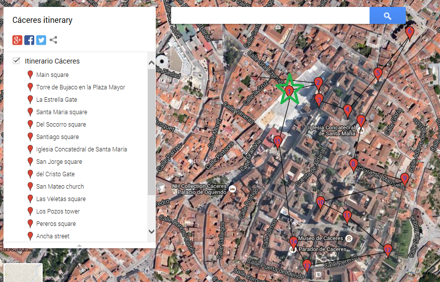 Caceres itinerary image