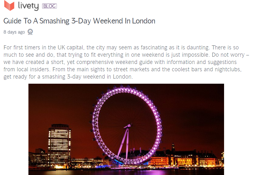 Guide to a smashing 3-day weekend in London, for Livety